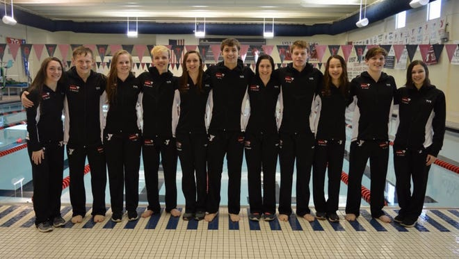 The Lancaster YMCA Swim Team competed in the YMCA Short Course National Meet at the Greensboro Aquatic Center in Greensboro North Carolina. Members of the team, from left to right: Katie Shook, Zachary Parkman Fisher Catholic, Taci Miller, Nathan Eberhardt, Olivia Schmelzer, Blake Fry, Hannah Parkman, Ben Neff, Mia Hensley, Michael Lewis and Kolya Larson.