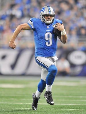 Lions quarterback Matthew Stafford runs in the first quarter Sunday vs. the Niners.