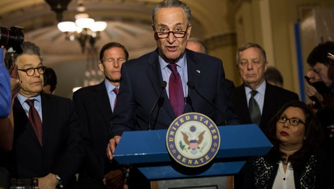 Senate Minority Leader from New York Chuck Schumer (C) speaks to the media about President Trump's leak of classified information to the Russians in the US Capitol  in Washington, DC, USA, 16 May 2017. On 15 May the Washington Post reported that President Trump boastfully revealed highly-classified information to Russian diplomats in the Oval Office the week before.