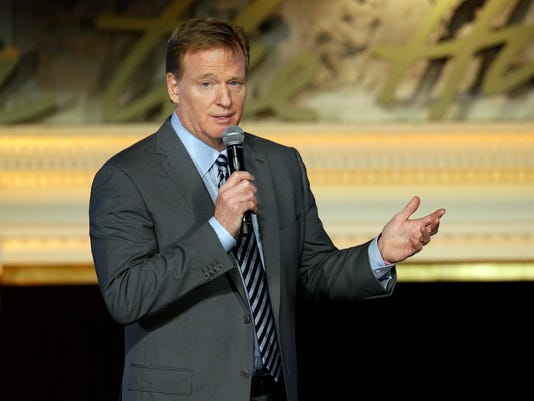 NFL Commissioner Roger Goodell gestures while speaking before the NFL Women's Summit, Thursday, Feb. 4, 2016, in San Francisco. (AP Photo/Ben Margot)