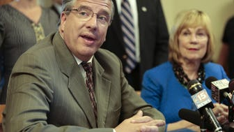 Wisconsin Rep. John Nygren (R-Marinette), left, speaks during a news conference with Wisconsin Sen. Alberta Darling (R-River Hills), right, before a meeting of the Legislature's Joint Finance Committee.