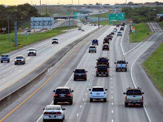 Traffic travels on Interstate 37 West as Hurricane Harvey approaches the area on Thursday, Aug. 24, 2017, in Corpus Christi.