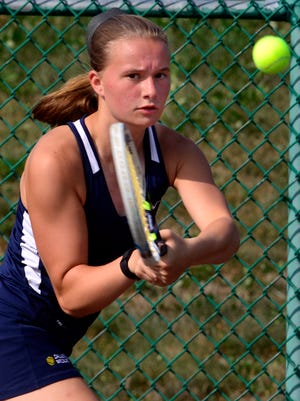 Dallastown's Madi Reed hits a backhand return to York Suburban's Samantha Clancy in the No. 2 singles match on Wednesday at Suburban. Dallastown opened its 2016 girls' tennis season with a 5-0 triumph. Christie Friedrich (No. 1), Reed and Morgan Kistler (No. 3) earned singles wins. Megan Salaga and Taylor Jones won at No. 1 doubles, while Lindsay Shaffer and Renee Williams triumphed at No. 2 doubles. Each of Dallastown's wins came in straight sets.