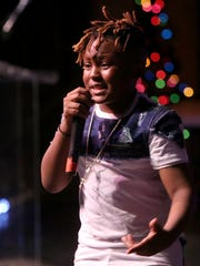 Ten-year-old rapper Jay Swagg performs at the Carl Perkins Civic Center in Jackson on Saturday.