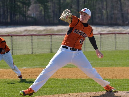 Barnegat's Jason Groome during Monday's no-hitter against Central, when he struck out 19 of 21 batters he faced.