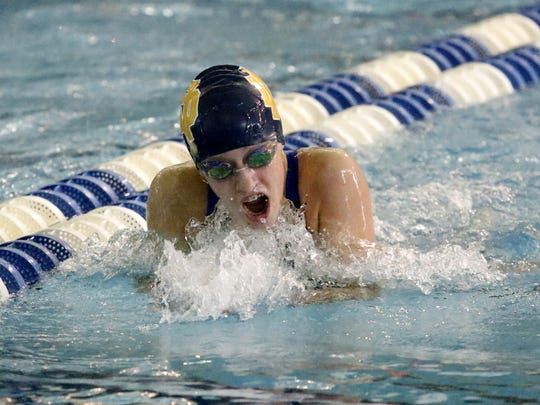 Catherine Craig of Notre Dame swims in the preliminaries of the 200-yard individual medley Friday at the state championship meet at Ithaca College.