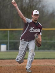 Teagan Staver pitches for Shippensburg during a 2-1