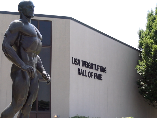 The Bob Hoffman Statue is placed at the front of the USA Weightlifting Hall of Fame in York.