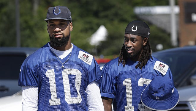 Indianapolis Colts wide receiver Donte Moncrief,left, and T.Y. Hilton,right,  on the first day of the Indianapolis Colts training camp Tuesday, July 27, 2016, morning at Anderson University in Anderson IN.