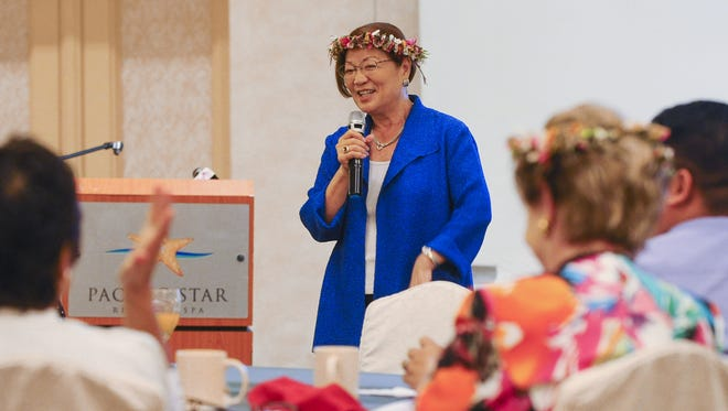 In this Aug. 27 file photo, U.S. Sen. Mazie Hirono speaks before the Guam Women's Chamber of Commerce membership during a breakfast gathering at the Pacific Star Resort & Spa.