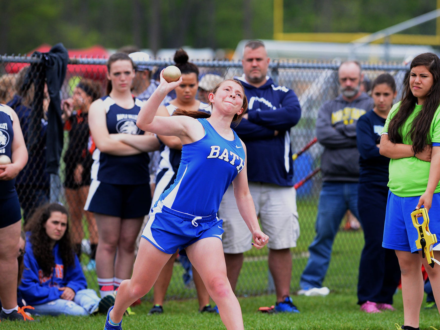 Bath's Hannah Erbskorn attempts a throw during her heat of the shot put Friday, May 15, 2015, at the Division 3 Regional track meet at Bath High School.
