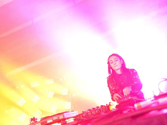 Paula Temple performs a set on the underground stage at the Movement Electronic Music Festival Saturday.