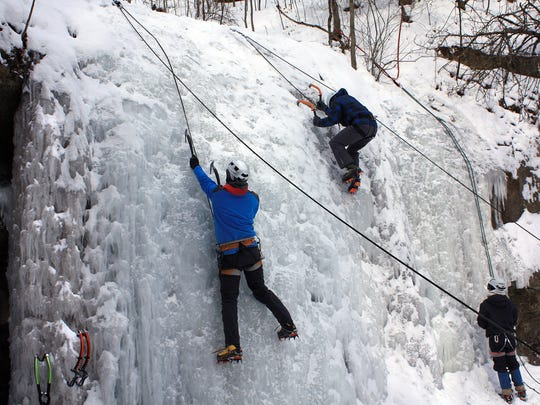 Ice climbers make their way up Stephens Falls at Governor Dodge State Park in Dodgeville.