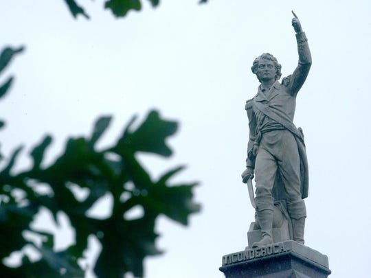 A statue of Ethan Allen sits at his gravesite at the Greenmount Cemetery off Colchester Avenue in Burlington.