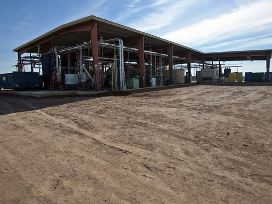 Simbol Materials' Salton Sea demonstration plant, seen on Jan. 8, 2014, used brine from EnergySource's Featherstone geothermal plant next door.