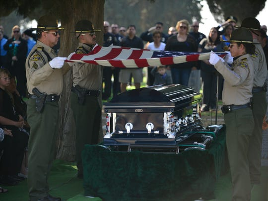 Hundreds gathered for the funeral of Exeter Police officer Daniel Green Tuesday in Porterville.