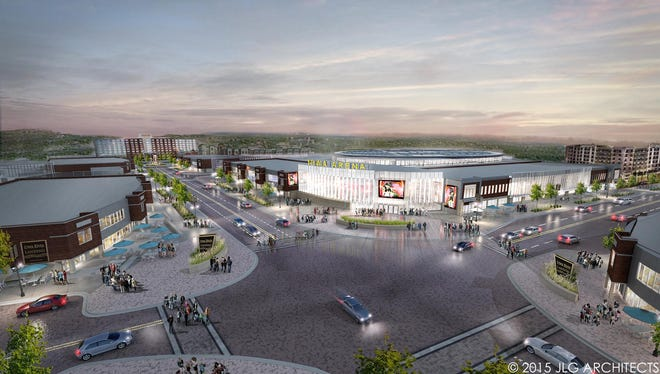 A design rendering of a proposed 7,000-seat arena at Coralville's Iowa River Landing.
