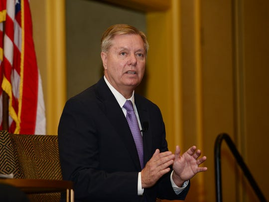 Sen. Lindsey Graham, who recently announced his candidacy for President, attends the Upstate Chamber Coalition Presidential Series at the Marriott Greenville on Monday.