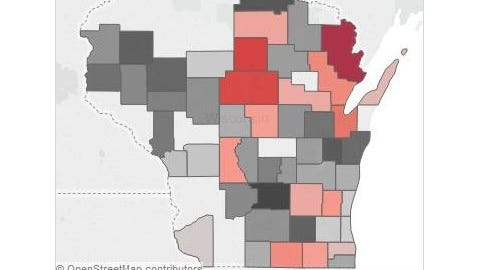 Sentencing harshness by county map