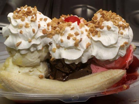 A banana split from Love Boat Homemade Ice Cream.