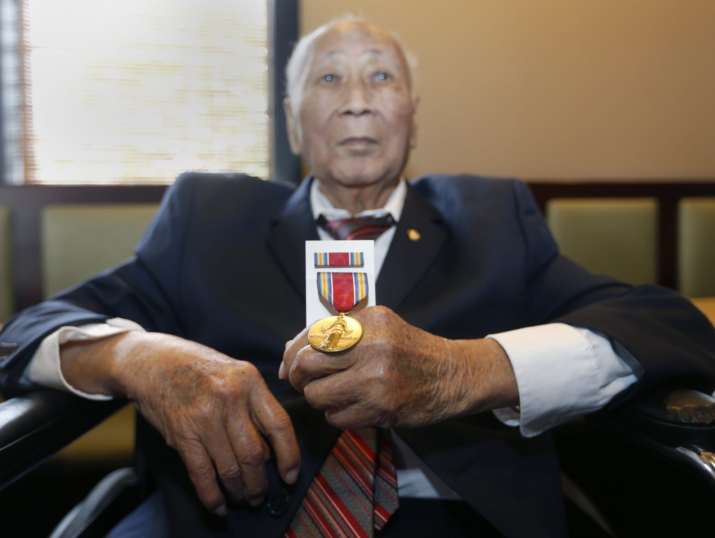 David Leong received replicas of the World War II medals