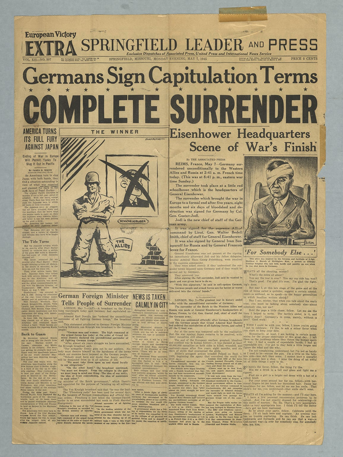 May 7, 1945, edition of the Leader and Press.