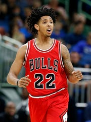 Chicago Bulls guard Cameron Payne pumps his fist after