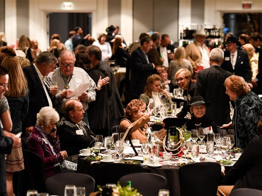 Guests enjoy the Williamson County Republican Party annual Reagan Day Dinner Friday, Feb. 23, 2018 in Franklin, Tenn.