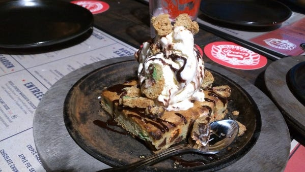 American Icon Brewery's salted caramel cookie skillet with vanilla ice cream.