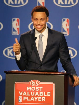 Stephen Curry averaged 23.8 points, 7.7 assists, 4.3 rebounds and 2.0 steals for the NBA-best Warriors.