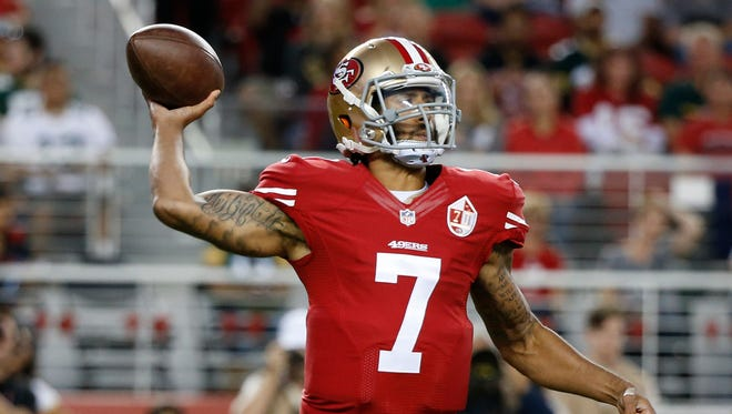 San Francisco 49ers quarterback Colin Kaepernick said he'll continue to sit during the national anthem until there's significant change.