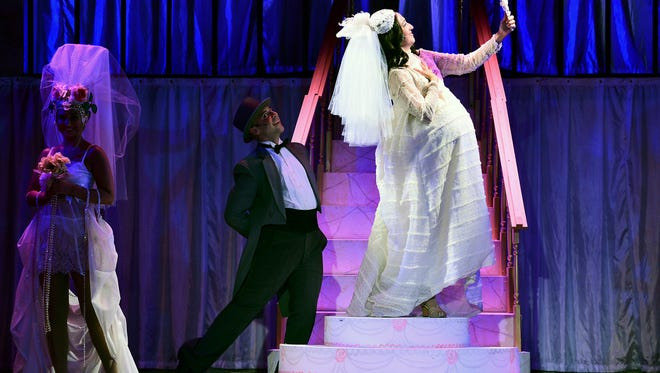 """Performing """"Beautiful Bride"""" in """"Funny Girl"""" at Candlelight Dinner Theatre are, from left,  Amanda Spivack, Matt Flocco and Victoria Healy as Fanny Brice."""