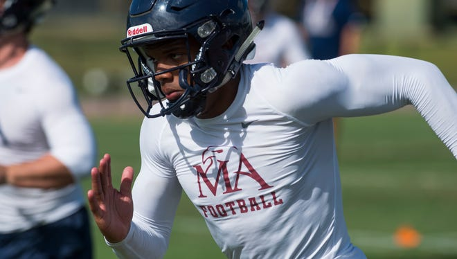 Montgomery Academy's Keefe White during football practice at the school's campus in Montgomery, Ala. on Tuesday August 9, 2016.