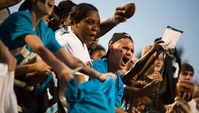 Panthers fans watch opening practice of training camp at Wofford College in Spartanburg on Wednesday, July 26, 2017.