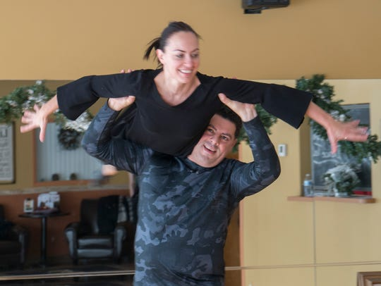 Gabe Zawaideh and instructor Yuliya Lukina make it