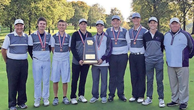 The Indianola boys golf team took third at the state golf tournament over the weekend. Participants, from left, included Coach Gene Capps, Jake Marvelli, Jacob McGinnis, Jackson Bishop, Grady Haynes, Jake Trembly, Ben Krapfl, Tom Krapfl- alternate and Coach McMahon