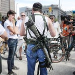 An open carry supporter in Cleveland on July 17, 2016.
