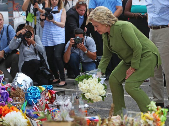 Democratic presidential candidate Hillary Clinton leaves