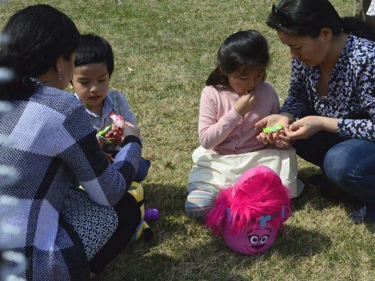 Abhinav Thulung, 4, left, and Tsering Lama, 4, both