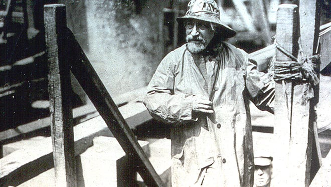 A 1922 photo of engineer Ralph Modjeski atop anchorage construction on the Philadelphia side of the Ben Franklin Bridge, then called the  Delaware River Bridge.
