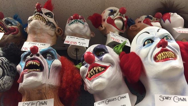 Clown masks for sale at Cappel's in downtown Cincinnati.