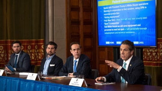 Gov. Andrew Cuomo provides a coronavirus update during a press conference in the Red Room at the State Capitol in Albany on Wednesday.
