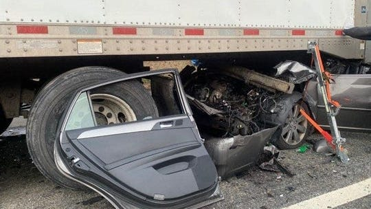 A driver was injured after crashing into a tractor-trailer on Interstate 87 in Sloatsburg on Jan. 13, 2020