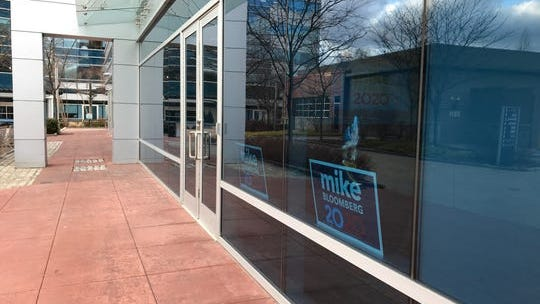 The office space that will serve as Mike Bloomberg's Poughkeepsie headquarters at 2515 South Road has signs for his campaign in the window.