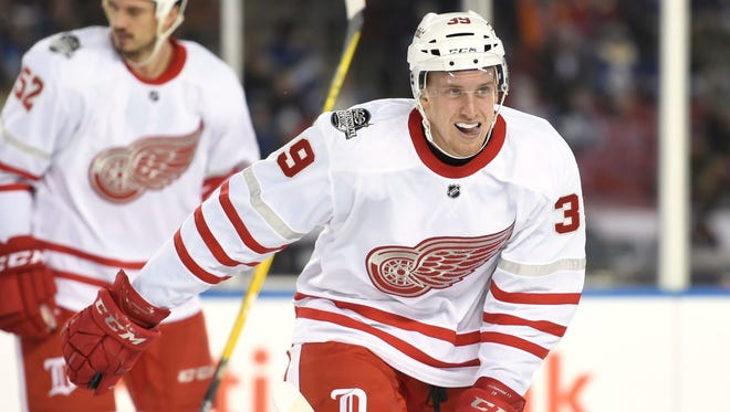 Red Wings right wing Anthony Mantha (39) skates back to the bench as he celebrates his goal against the Toronto Maple Leafs Sunday in Toronto.