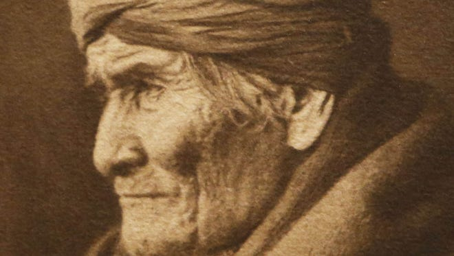 This Edward S. Curtis photograph depicts Geronimo in 1906.