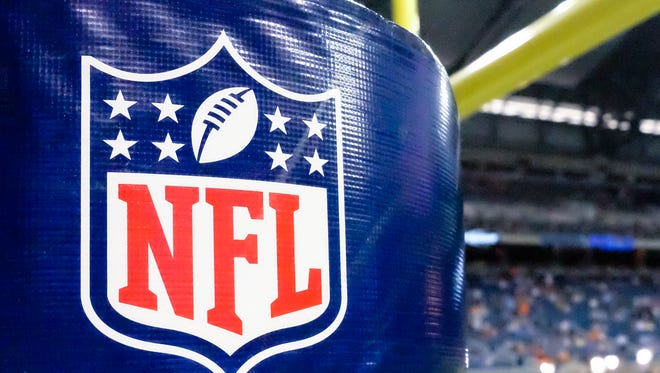 NFL logo on goal post padding before between the Detroit Lions and the Cleveland Browns a preseason NFL football game at Ford Field in Detroit, Saturday, Aug. 9, 2014. (AP Photo/Rick Osentoski)