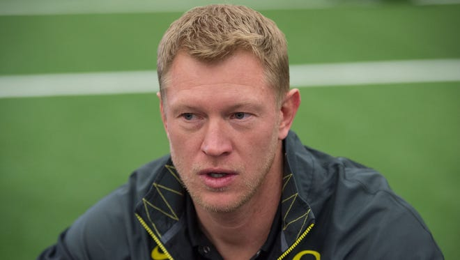 January 10, 2015; Arlington, TX, USA; Oregon Ducks offensive coordinator Scott Frost addresses the media during Media Day for the College Football Playoff National Championship at Dallas Convention Center. Mandatory Credit: Kyle Terada-USA TODAY Sports