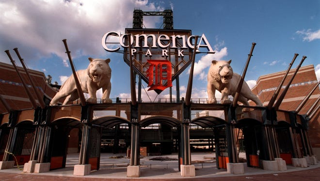 The main entrance to Comerica Park is an impressive sight.  (KENT PHILLIPS/Detroit Free Press)