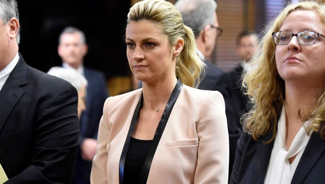 Erin Andrews looks on in court for her lawsuit against Marriott hotels in the Historic Courthouse in Nashville.